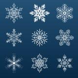 Комплект белых снежинок для украшать бесплатная иллюстрация