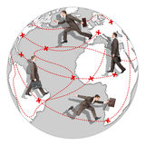 Комплект бизнесмена бежать мир Стоковые Изображения RF