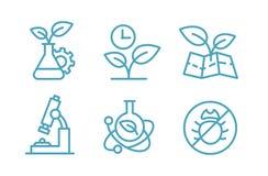 Комплект биотехнологии значков Заводы и склянки химии биологии Земледелие и agronomist Стоковая Фотография