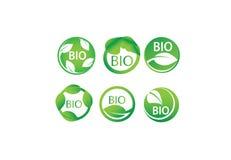 Комплект био, органический, Eco вектора, зеленые лист, естественные, биология, сердце, ярлыки символа здоровья Стоковые Фото