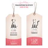 Комплект бирок подарка дня валентинки Стоковые Изображения