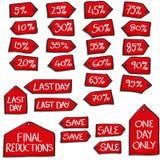 Комплект бирок продажи стиля шаржа Стоковые Фото