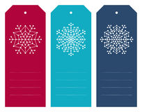 Комплект бирок рождества с геометрическими снежинками Стоковая Фотография