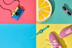 Комплект битника лета моды Камера фильма Искусство дизайна стоковая фотография rf