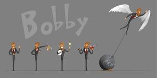 Комплект битник-бизнесмена, в различных ситуациях, для вашего представления Бесплатная Иллюстрация
