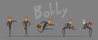Комплект битник-бизнесмена, в различных ситуациях, для вашего представления Иллюстрация штока