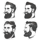 Комплект бородатой головы ` s человека изолированной на белой предпосылке desi иллюстрация вектора