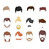 Комплект бород, усиков мужских Стиль битника также вектор иллюстрации притяжки corel Стоковые Изображения RF