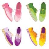 Комплект - ботинки colorfull Обувает взгляд сверху вскользь обувь иллюстрация вектора