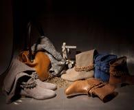 Комплект ботинок женщины продуктов Стоковое Фото