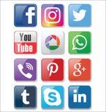 Комплект большинств популярного социального собрания значков средств массовой информации иллюстрация вектора