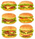 Комплект больших бургеров иллюстрация штока