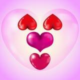 Комплект больших красных сердец Стоковые Фотографии RF