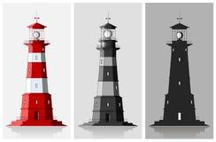 Комплект больших маяков над серой предпосылкой Стоковые Изображения RF