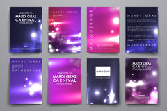Комплект брошюры, шаблонов дизайна плаката в стиле марди Гра Стоковое фото RF