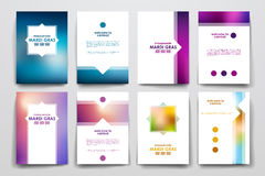 Комплект брошюры, шаблонов дизайна плаката в стиле марди Гра Стоковое Фото