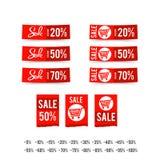Комплект бумаги ленты знамени круга бирки продажи - vector иллюстрация иллюстрация вектора