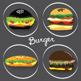 Комплект бургеров фаст-фуда, буррито Стоковая Фотография RF