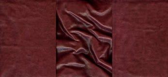 Комплект бургундских кожаных текстур Стоковые Фотографии RF