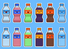Комплект бутылки kawaii соды и воды Плоский дизайн Стоковые Фото