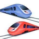 Комплект быстроходных поездов на белой предпосылке иллюстрация вектора