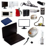 Комплект бытовых приборов на белой предпосылке стоковое фото rf