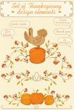 Комплект благодарения элементов дизайна Стоковое Изображение