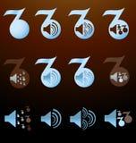 Комплект блюзовых нот с изображениями дикторов Стоковое фото RF