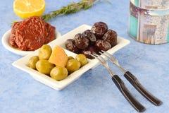 Комплект блюд греческой кухни: оливки, высушенные солнцем томаты, лимон, бураки, опарник с оливковым маслом и традиционные сушат стоковая фотография