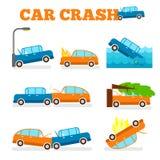 Комплект вектора автокатастрофы Страхование покрывает автокатастрофу Стоковые Фото