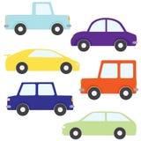 Комплект автомобилей шаржа вектора Стоковые Фото
