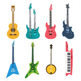 Комплект вектора акустических и электрических гитар Стоковые Изображения