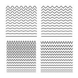 Комплект вектора безшовных волнистых линий хороших для щеток, картин полутонового изображения, кроя текстуры моря, sinusoids, выр иллюстрация штока