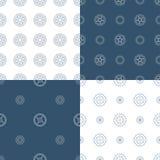 Комплект вектора безшовных картин шестерни Стоковые Изображения