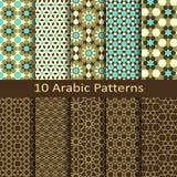 Комплект вектора 10 безшовных традиционных арабских геометрических картин Стоковые Изображения RF