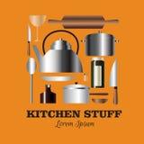 Комплект вектора вещества кухни Стоковая Фотография RF