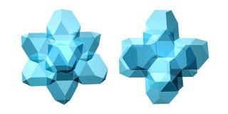 Комплект вектора взглядов прозрачной сложной геометрической формы Иллюстрация вектора