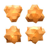 Комплект вектора взглядов прозрачной сложной геометрической формы Иллюстрация штока