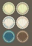 Комплект вектора винтажных круглых ярлыков иллюстрация вектора