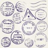 Комплект вектора винтажных штемпелей почтового сбора от много стран Стоковое Фото