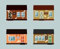 Комплект вектора внешних зданий Иллюстрация штока