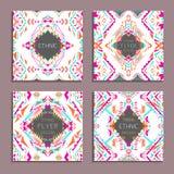 Комплект вектора геометрических красочных предпосылок Шаблоны карточки для дела и приглашения Этнический, племенной, ацтекский ст Стоковая Фотография RF