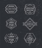 Комплект вектора геометрической линии логотипов битника, значков, значков бесплатная иллюстрация