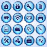 Комплект вектора голубых круглых стеклянных кнопок Стоковое Фото