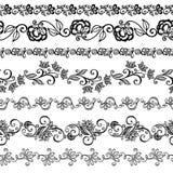 Комплект вектора декоративного флористического орнамента Стоковые Изображения