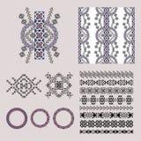 Комплект вектора декоративных элементов для моды в этническом стиле Стоковое Изображение