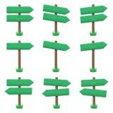 Комплект вектора деревянных знаков стрелки Стоковая Фотография RF