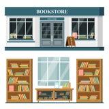 Комплект вектора детализировал плоские фасад и интерьер bookstore дизайна стоковое изображение rf