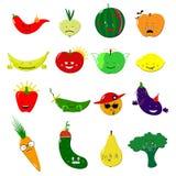 Комплект вектора еды смайликов Милые смешные стикеры Стиль шаржа фруктов и овощей Emoji плоский также вектор иллюстрации притяжки стоковые изображения
