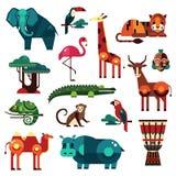 Комплект вектора животных Африки и саванны Стоковые Изображения